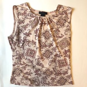 Floral Patterned Sleeveless Career Blouse
